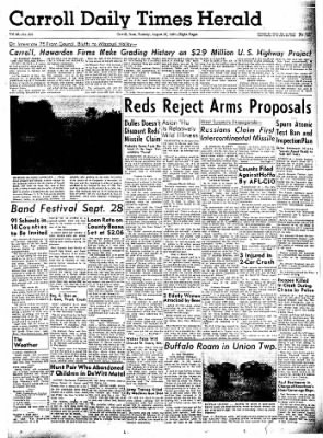Carrol Daily Times Herald from Carroll, Iowa on August 27, 1957 · Page 1