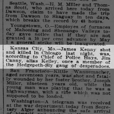 James Kenny alias James Cagney, Jim Kelly Hedgpeth sly gang member killed in Chicago