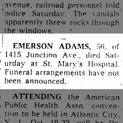 The Racine Bulletin, Racine, Wi 11 Oct 1959 page 6  Emerson Adams