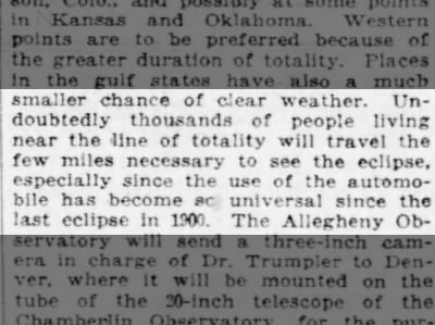 People will travel to the 1918 eclipse in now-universal automobiles